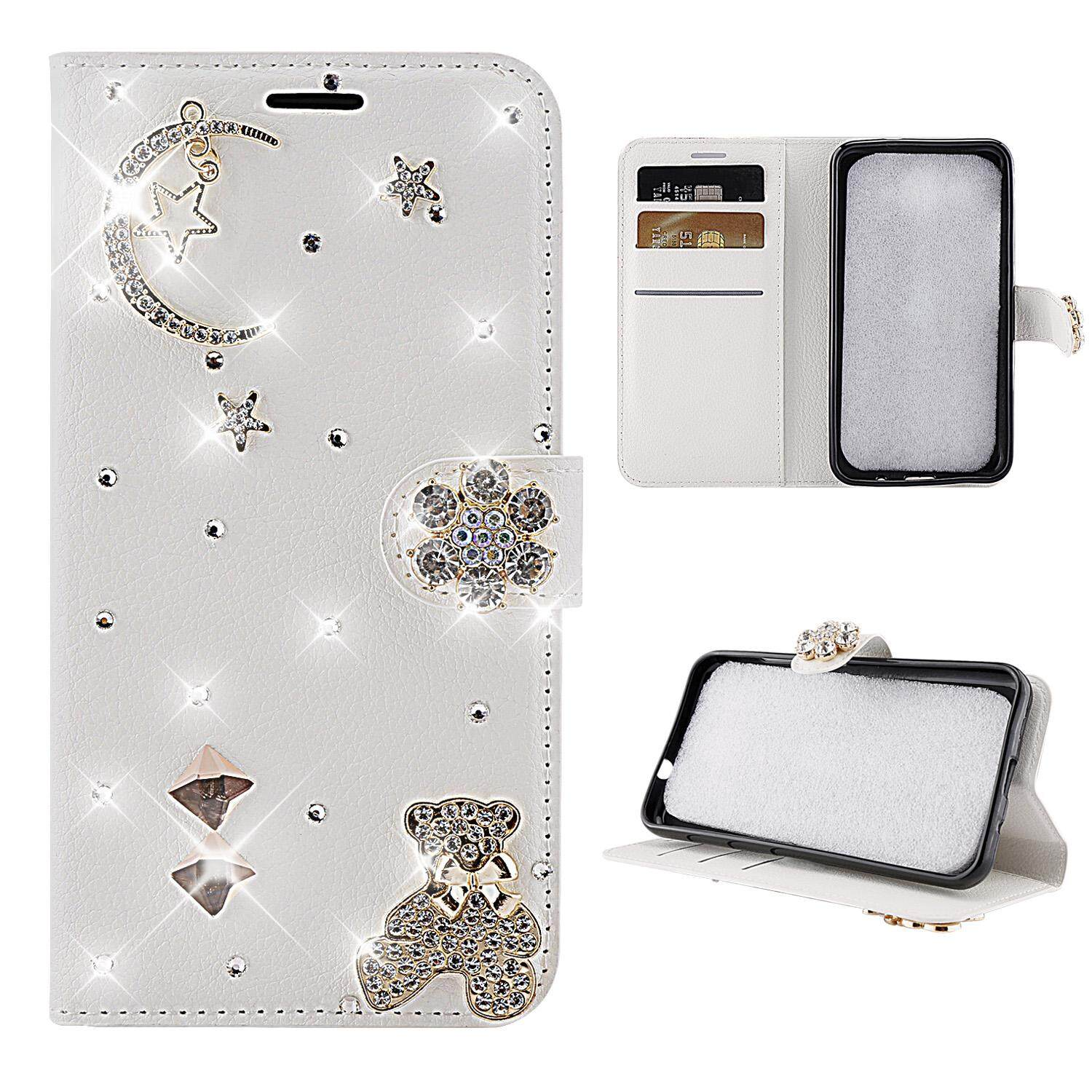 Moonmini For HTC U11 Life 3D Bling Diamond Rhinestones PU Leather Wallet Case Flip Stand Card Slots Cover with Magnetic Closure - intl