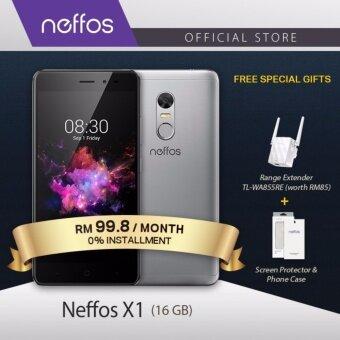 Neffos X1 16GB/2GB (2 Years Warranty, Fast Fingerprint Sensor, Android 7.0, Fast Charging, 4G Dual Sim, Gold/Grey) Free WiFi Range Extender TL-WA855RE