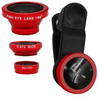 Harga New 3 In 1 Fish Eye + Wide Angle + Macro Camera Clip-on LensSmartphone Lense