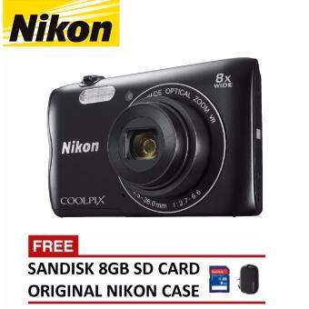 Nikon Coolpix A300 Digital Camera + 8GB SanDisk SDHC Card + Nikon Casing (ORIGINAL NIKON MALAYSIA)