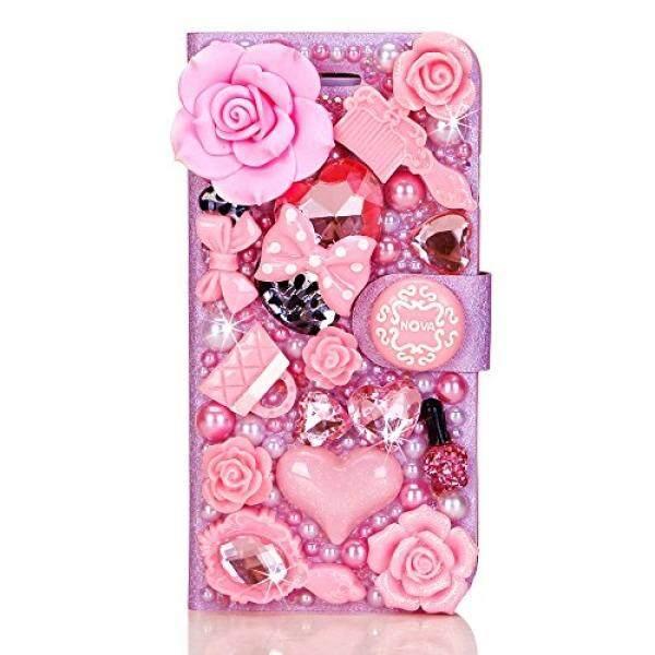 Nova Case Glamour Seri 3D Bling Kristal PU Kulit Lipat Case Sarung untuk iPhone 6 Warna Peri Tale (Merah Muda) -Internasional