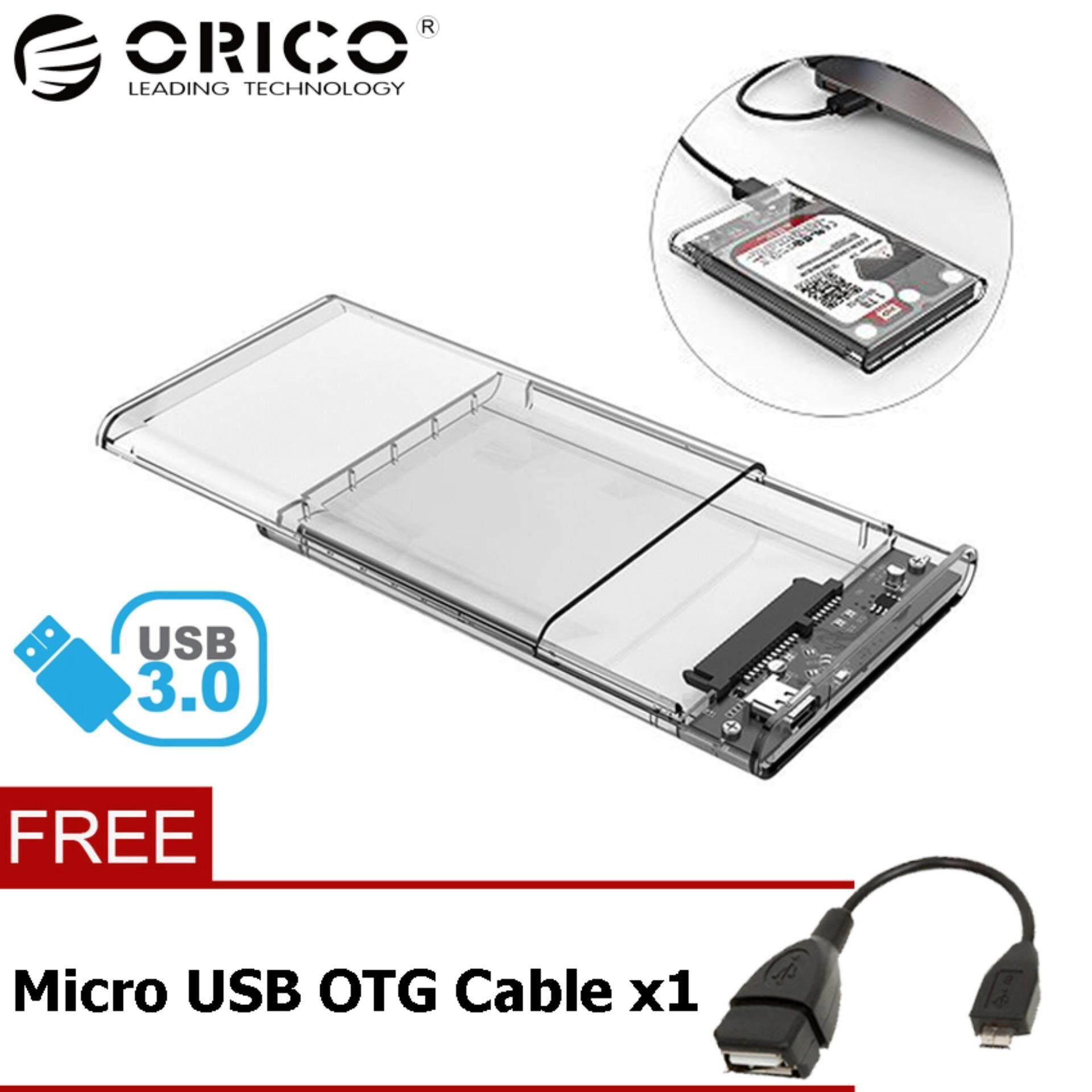 Orico 2139u3 Tool Free 25 Inch Transparent Usb30 Hard Drive Casing Hardisk Seagate Usb 30 Sata Enclosure For Hdd