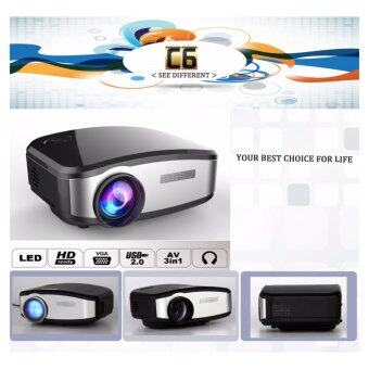 Harga ORIGINAL CHEERLUX C6 Mini LED Projector 800 x 480 Pixels 1200 Lumens Analog TV Home Theater VGA / USB 2.0 / HDMI / AV / Earphone Output Interface Support HD 1080P EU Plug (Black) - International