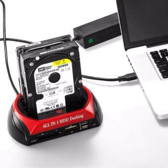 "Harga Original HDD Docking Station HUB Card Reader USB 2.0 2.5"" 3.5"" IDESATA External HDD Box Hard Disk DRIVE Card Reader UK Plug"