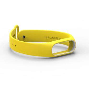 Original Mijobs Replace Strap for Xiaomi Mi Band 2 Version MiBand 2Silicone Wristbands for Mi Band 2 Smart Bracelet for Xiao Mi Band 2-Yellow With White