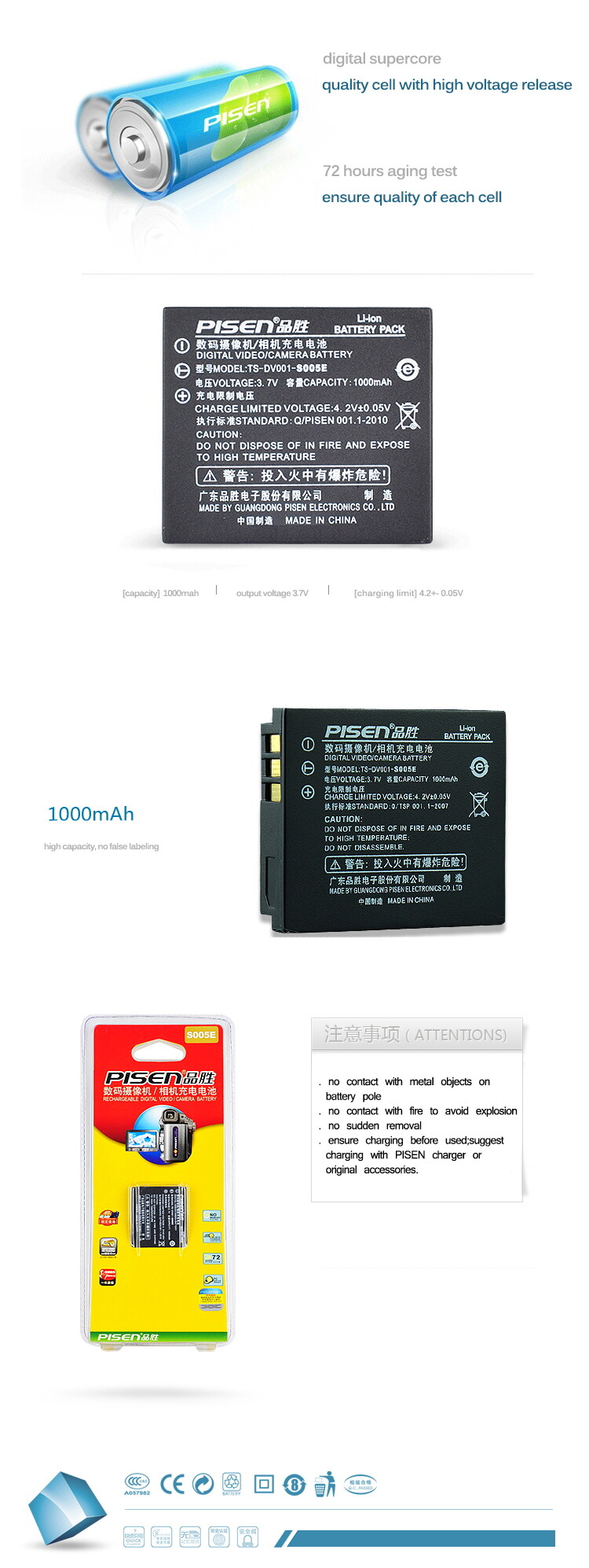 Original Pisen Camera Battery CGA-S005E Panasonic Lumix LX1GN FX180 LX1GK FX3EG Battery Warranty 1Y