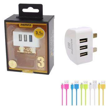 Harga Original Remax Moon Series RP-U31 3Port USB 3.1A Charger AdapterWith Mirco USB Charging Cable