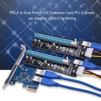 PCI-E to Dual Port PCI-E Extension Card PCI Express Riser AdapterUSB3.0 for Mining