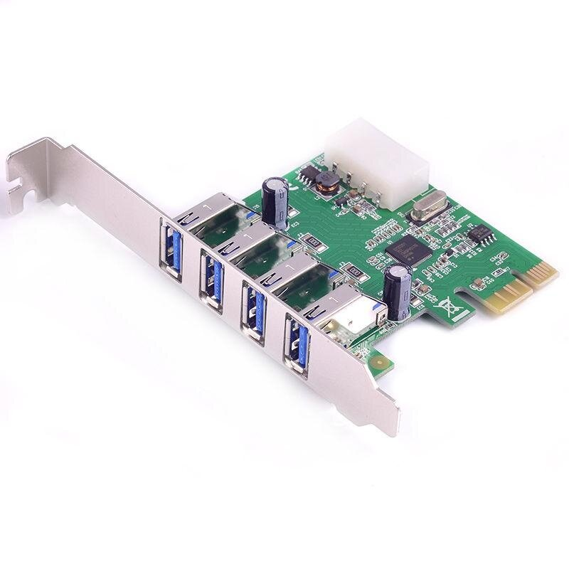 PCIe PCI-e to 4x USB3.0 expansion Card USB 3.0 Adapter Renesas (NEC) Chip - intl