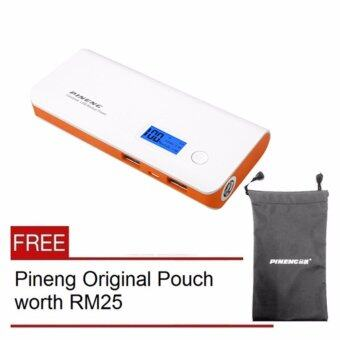 PINENG PN-968 10000mAh Power Bank - White Orange- Free Pouch Bag