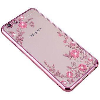 Plating Clear TPU Case Secret Garden Flowers Bling Diamond SoftBack Cover for OPPO F1s A59