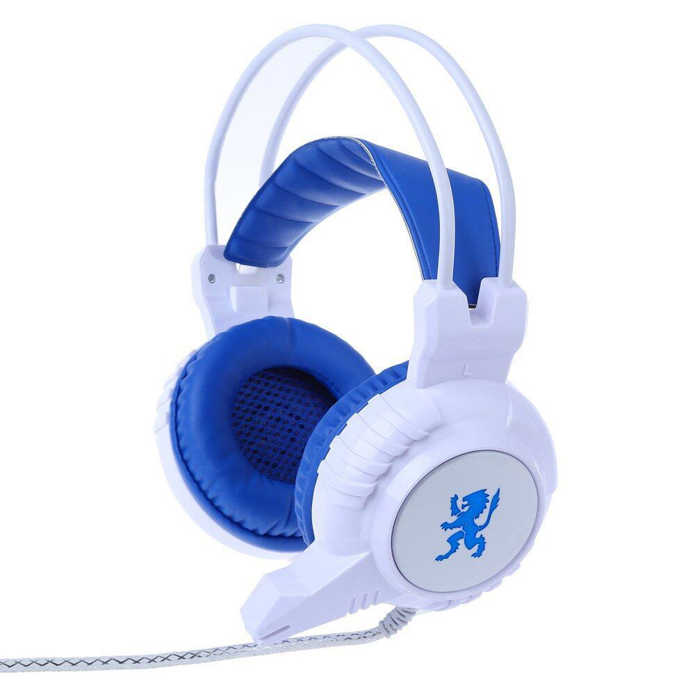 PLEXTONE PC830 Lebih-Telinga Warna-warni Pernafasan Ringan Game Headphone dengan Mikrofon (Putih)-Internasional