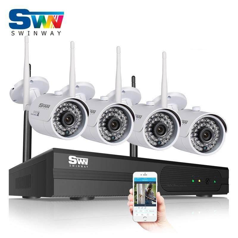Pasang dan Mainkan 4CH Nirkabel NVR CCTV Sistem P2P1080P2.0MPHDOutdoor Perlengkapan Kamera Keamanan WiFi Video Pengawasan Sistem Tidak Ada HDD-Internasional