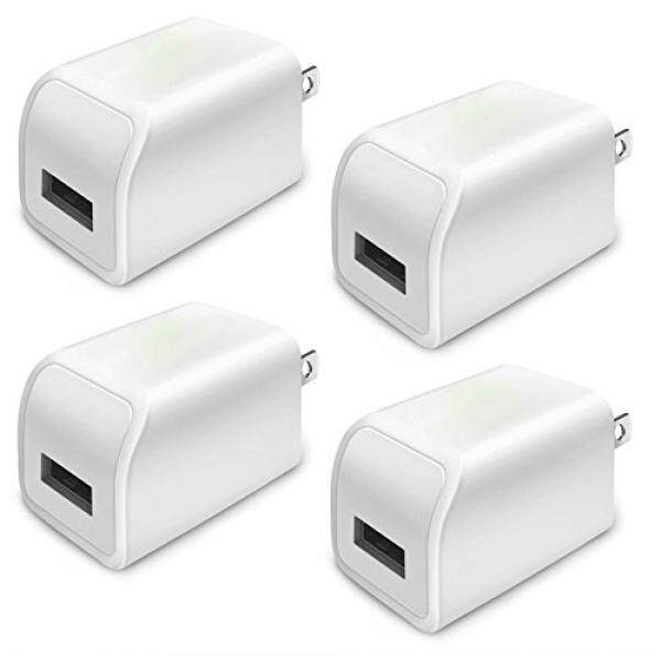 Power Boost Wall Charger Plug - Certified USB 5W / 1A Universal AC Portable Travel Home Power Wall Charger Full-Speed 1.0A Output for iPhone X 8 iPod Samsung Galaxy Sony HTC LG iPod Nokia (4 Pack) White - intl