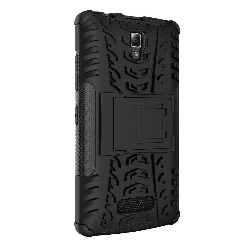 PREMIE Lenovo Vibe P1m Hybrid Armor Heavy Duty Hard 2 in 1 Shockproof With Stand Function Protective Cover (Black) FREE 2 in 1 Cable for Micro USB & Samsung Tab