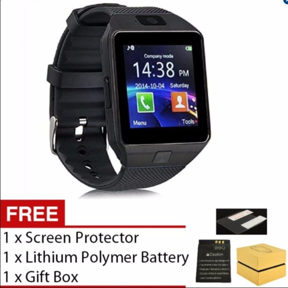 Smart Watch DZ09 with Bluetooth Support SIM Card Connectivity iPhone Android Phone (Black) **FREE Screen Protector & Battery**