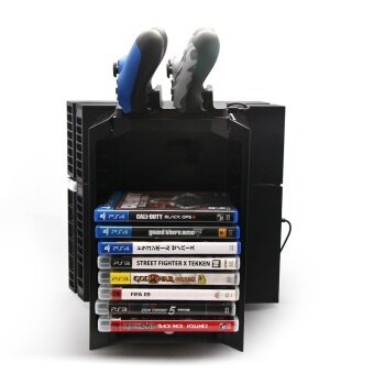 PS4 Multi-functional Detachable Holder for Game Disk Storage Tower with Dual for PlayStation 4 PS4 Pro PS4 Slim XBOX ONE S