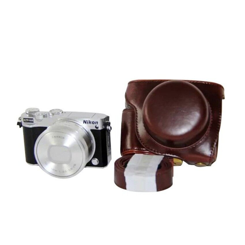 PU Leather Camera Case Bag Cover with Strap for Nikon J5 Coffee intl