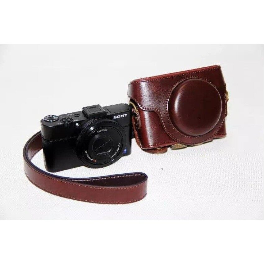 PU Leather Case Camera Bag Cover for Sony RX100 RX100ii RX100iiiRX100IV RX100V M5 Camera Shoulder strap - intl