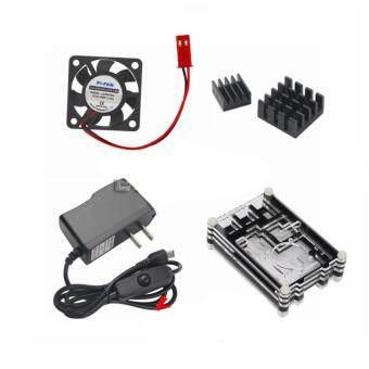 Raspberry Pi 3 Model B Accessory Kit Radiator Fan+Heat Sink+5V2.5A Switch Power Supply+Acrylic Case