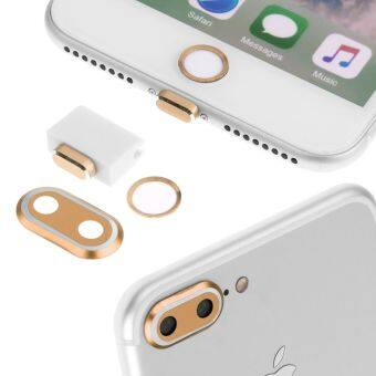 "Rear Camera Cover + Home Button Ring + Lightning Anti Dust Plug ForiPhone 7 Plus 5.5""-Champagne"