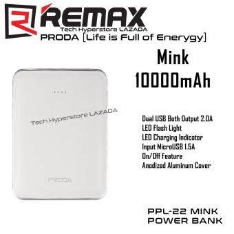 Harga Remax Proda Mink 10000mAh PPL-22 Power Bank with Both 2.0A Dual USBOutputs (White)