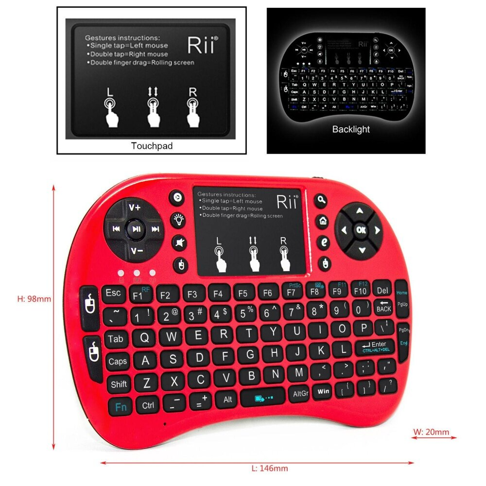 Rp 453.615. Rii mini i8+ Red mini Gaming Keyboard with Backlight For Gaming Amazon fire ...