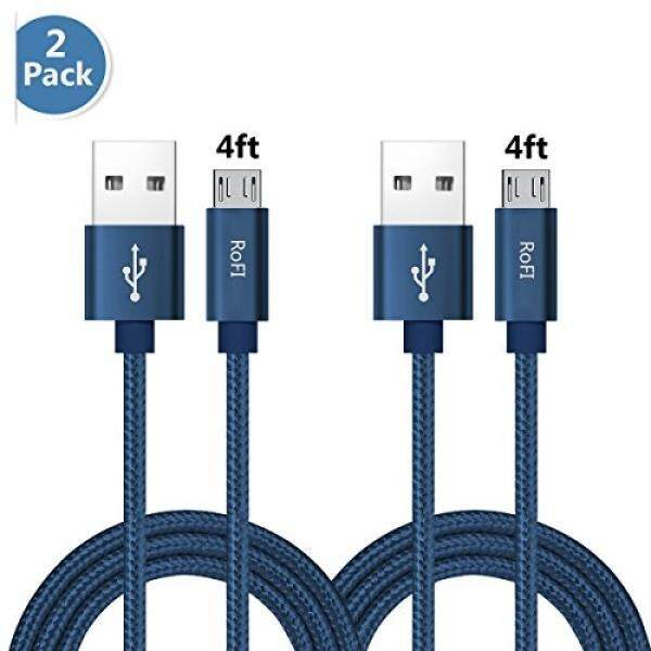 RoFI [2Pack 4ft] Micro USB Cable, Samsung Charger, Braided Micro USB Charger, High Speed USB 2.0 A to Micro B Charging Cord Univ - intl
