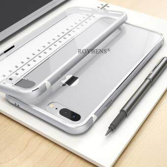 Roybens Ultra thin Hybrid Shockproof Metal Rubber Clear Hard Case For iPhone 7 Plus Silver