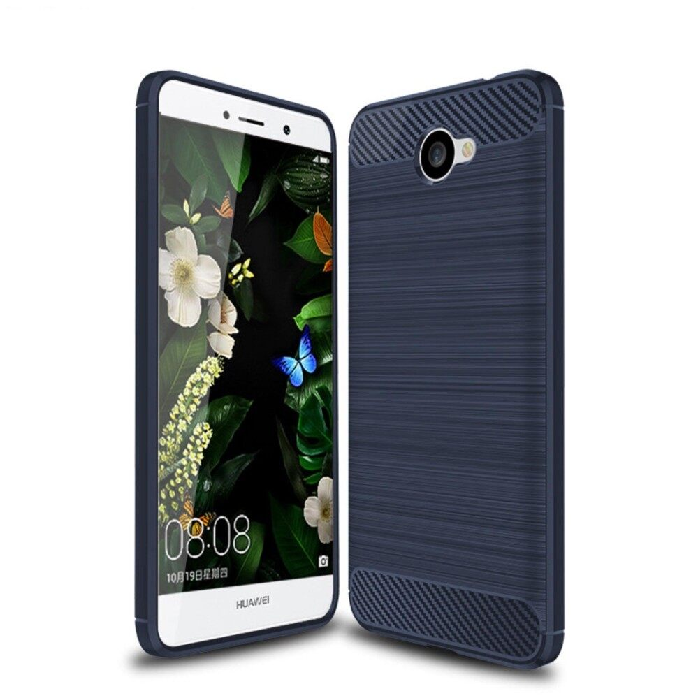 Rugged Armor Back Cover For Huawei Y7 2017 Soft Silicone Tpu Phone Case Carbon Fiber Texture Brushed Shell Anti Knock Full Protection Casing Intl เป็นต้นฉบับ