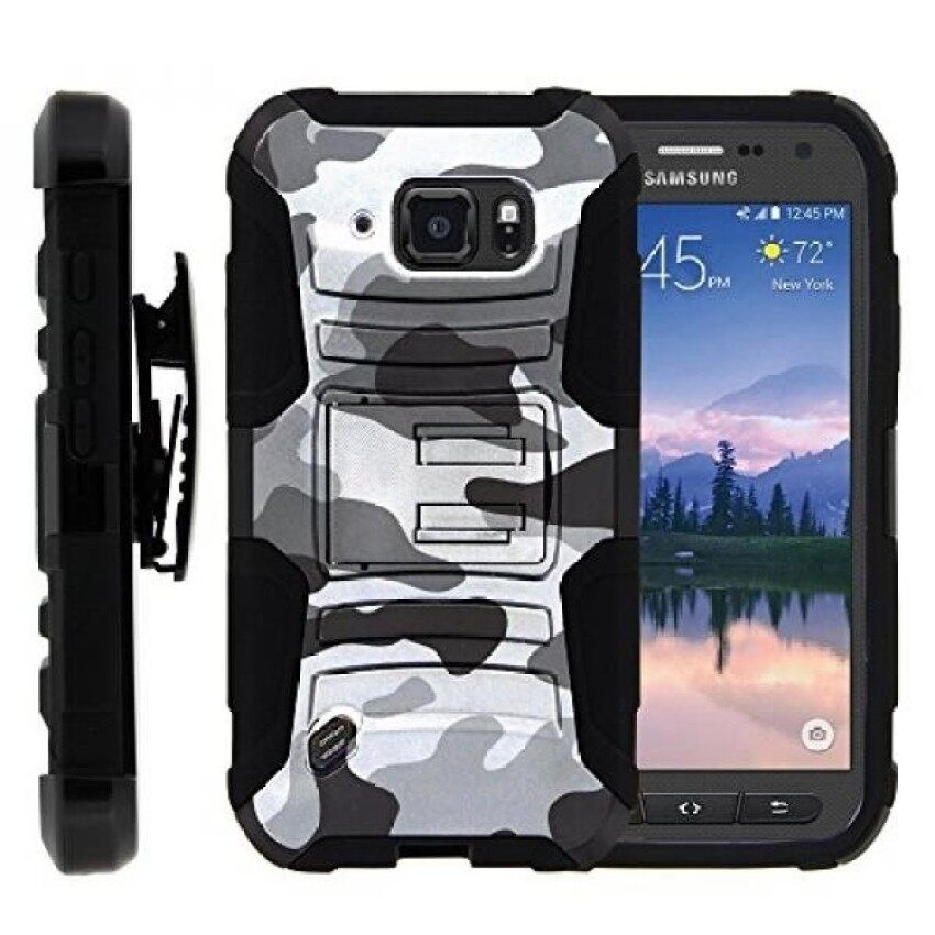 S6 Active Case. S6 Active Holster. Two Layer Hybrid Armor Hard Cover with Kickstand and Unique Graphic Images for Samsung Galaxy S6 Active SM-G890 by MINITURTLE - Gray Camouflage - intl