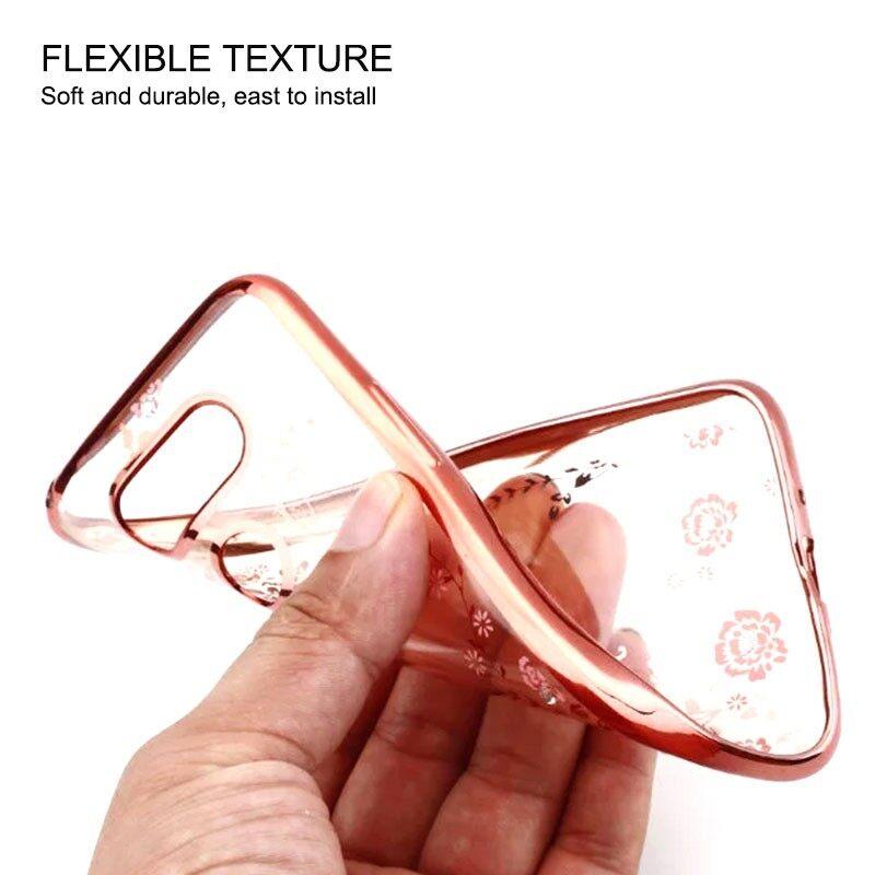 Secret Garden Flower Gold Plating Soft TPU Transparent Back Case for LG G5