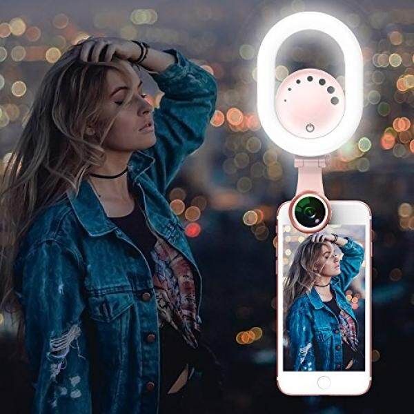 Selfie Ring Light Clip on - Luxsure 48 LED 180° Rotatable Camera Makeup Light Kit, 3 Modes, Adjustable, Rechargeable, For Iphone Ipad Samsung Most Smartphones Tablet Laptop (Pink) - intl