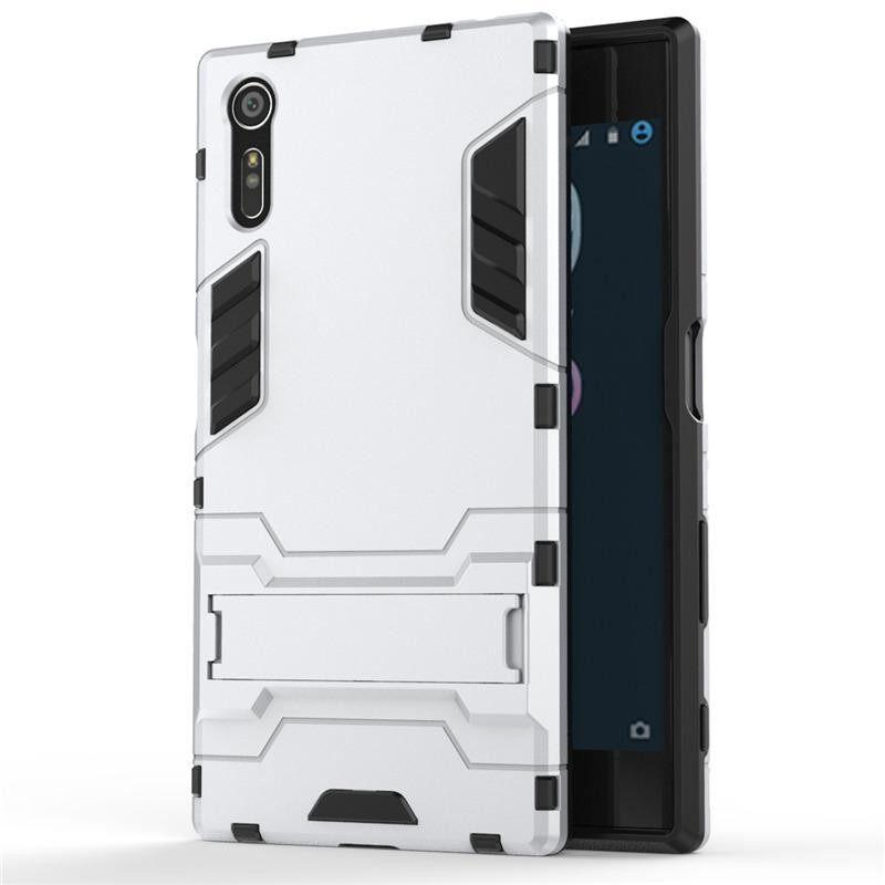 Detail Gambar Sevenplus Super Jatuh Protectionarmor Seri Moderen Gaya Ramping Keras Hibrida Sarung dengan Stand Penyangga Case untuk Sony Xperia XZ/ ...