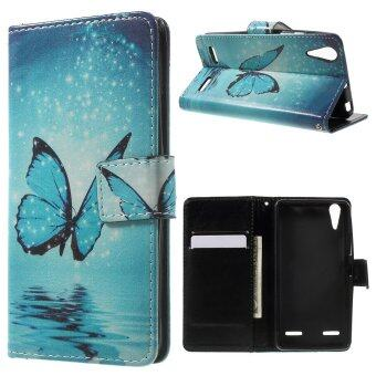 Shiny Blue Butterfly Patterned Wallet Leather Flip Shell For Lenovo A6000 Plus A6010