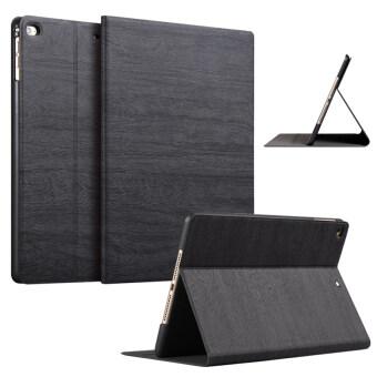 Slim Wood Grain Case PU Leather Cover for Apple iPad Air 1 / iPad Air 2 (Black)