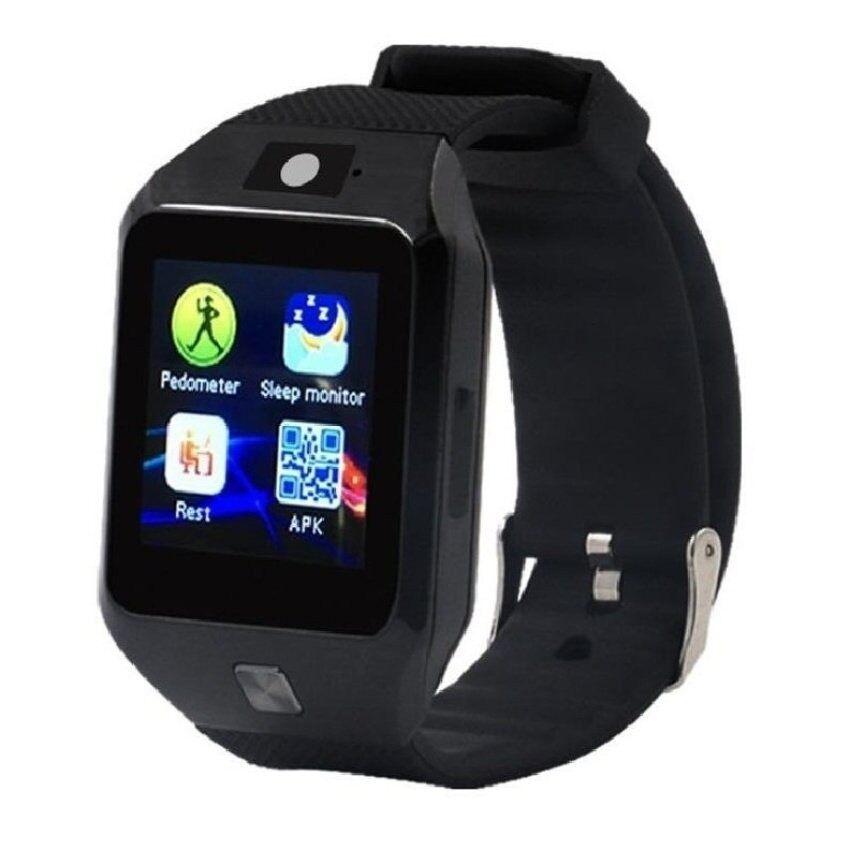 Pintar Jam Tangan Ponsel DZ09S Mendukung Kartu SIM Olahraga dan Healthyremindfor IOS dan Ponsel Android Update DZ09 (Hitam) -Internasional