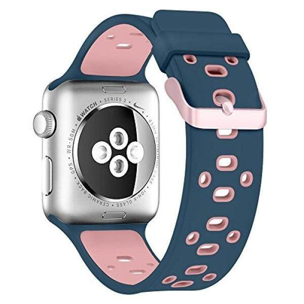 Smart Watch Sport Band 38mm, Viodo Soft Durable Breathable Silicone Replacement Strap Wristband with Quick Release Buckle for Apple iWatch Nike+, Series 2/1, Sport, Edition Light Pink/Midnight Blue - intl