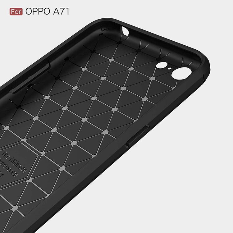 Lembut Silikon TPU Karbon Serat Case untuk Oppo A71 2018 Sarung Coque Mewah .