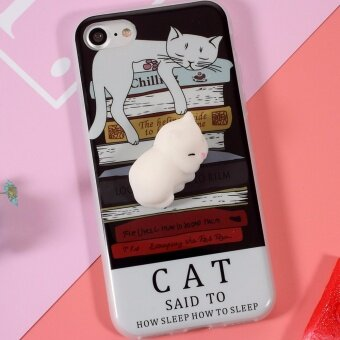Squishy 3D Cute Silicone Cat TPU Shell Cover Case for iPhone 7 -White Cat