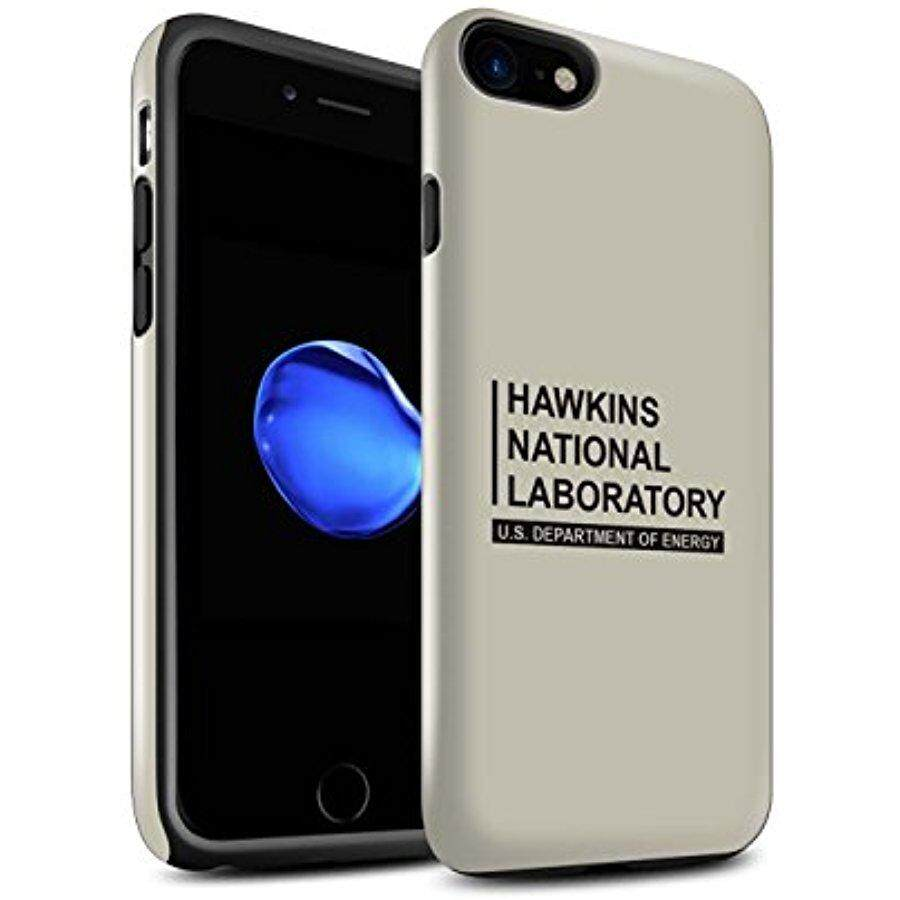 STUFF4 Gloss Tough Shock Proof Phone Case for Apple iPhone 8 / Beige Design / Hawkins National Laboratory Collection