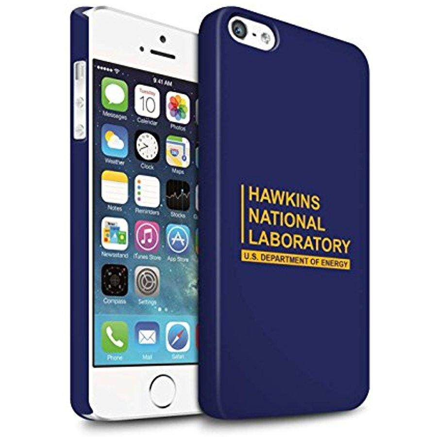 STUFF4 Matte Hard Back Snap-On Phone Case for Apple iPhone 5/5S / Blue Design / Hawkins National Laboratory Collection