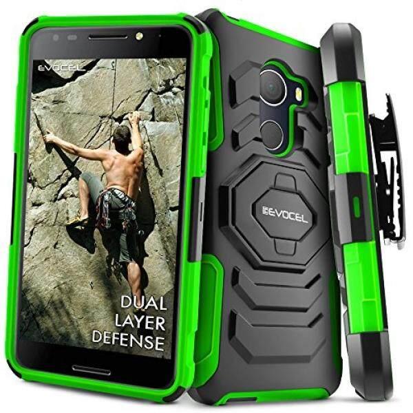 T-mobile Revvl Case, evocel [Generasi Baru] Ganda Lapisan Kasar Sarung Case [Stand Penyangga] [Sabuk Putaran Klip] untuk Alcatel walters/T-mobile Revvl (5049 W), hijau (EVO-ALWALTERS-XX12)-Internasional