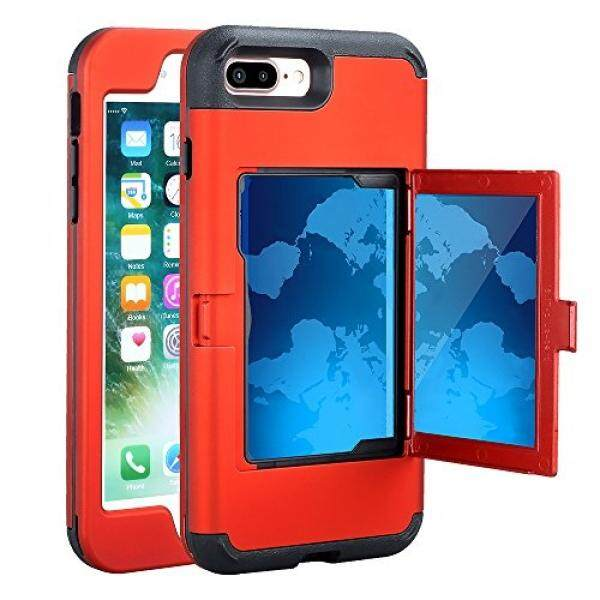 TabPow iPhone 7 Plus Case, Hidden Door Slim Wallet Case, Fits 2 Cards and Cash, Reinforced Drop Bumper Protection, Mirror, Screen Frame Guard For iPhone 7 Plus/ iPhone 8 Plus (5.5inch) -Red - intl