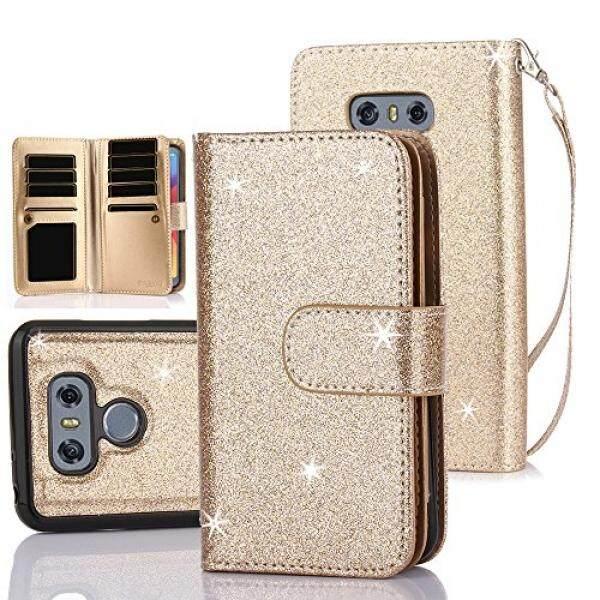 Tabpow LG G6 Case, 10 Slot Kartu-[Slot Identitas] Dompet Folio PU Kulit Case dengan Dapat Dilepas Magnetik Keras Case untuk LG G6 (2017) -Berkilau Emas-Internasional