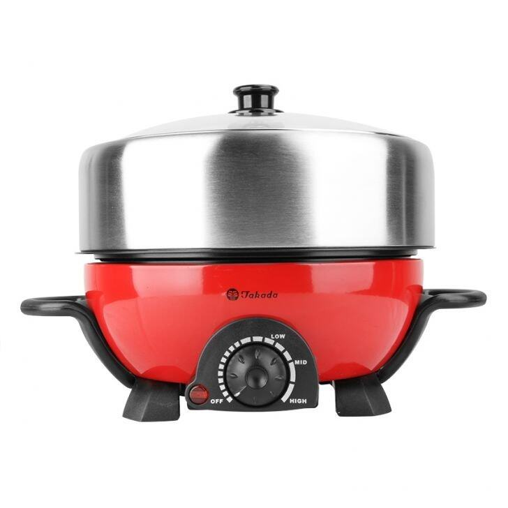 Takada ISB-300 Stainless Steel Multi Cooker With Non-Stick BBQ (Red)