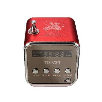 Harga TD-V26 Radio FM Music Box With Mp3 Player Functions. Micro SD, USB, Speaker (Red)