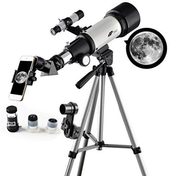 Teleskop 70 Mm Apeture 400 Mm AZ Teleskop-Ruang Lingkup Perjalanan untuk Anak-anak dan Pemula untuk Melihat Bulan dan Planet dengan Tripod dan 10 Mm Lensa Mata Smartphone Adaptor-Internasional
