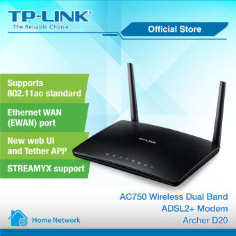 Harga TP-Link Archer D20 AC750 Wireless Dual Band ADSL2+ Modem RouterWiFi