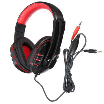 Harga Tv, Audio / Video, Gaming Wearables On-Ear Headphones Stereo PcGaming Headphone Headset Earphone With Mic Microphone For LaptopSkype (Red) - Intl